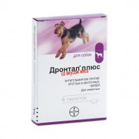 Антигельминтное таблетки со вкусом мяса для собак BAYER «Дронтал плюс» (04690)