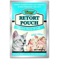 Wanpy Cat пауч для кошек с кусочками курицы и крабом 85 г