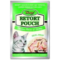 Wanpy Cat пауч для кошек с кусочками курицы и креветками 85 г