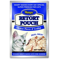 Wanpy Cat пауч для кошек с кусочками курицы и гребешками 85 г