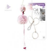 GiGwi игрушка для кошек Птичка-дразнилка на резинке с кольцом