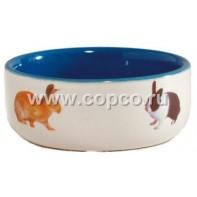 I.P.T.S. 801650 Миска керамическая с изображением кролика, голубая 300мл*11,5см