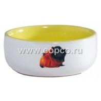 I.P.T.S. 801641 Миска керамическая с изображением морской свинки, желтая 160мл*10см