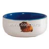 I.P.T.S. 801640 Миска керамическая с изображением морской свинки, голубая 160мл*10см