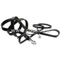 *I.P.T.S. 736351 Поводок кожаный цвет черный 130см*12мм