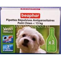Беафар 15612 БиоКапли д/собак мелких пород < 15кг от блох и клещей 3пипетки
