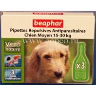 Беафар 15613 БиоКапли д/собак средних пород 15-30кг от блох и клещей 3пипетки