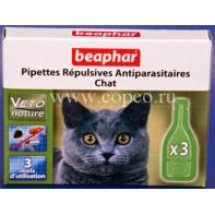 Беафар 15616 БиоКапли д/кошек от блох и клещей 3пипетки