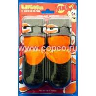 Барбоски 153192 Носки д/собак №5 для прогулки с латексным покрытием и фиксатором, оранжевые, размер 5-5,5см