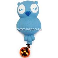 Beeztees 419975 Игрушка д/кошек  Совенок с колокольчиком  голубой, латекс 9см
