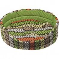 COMFY Лежанка LEA 2 (48х40х15 см) «елочкой» зеленая, съемная подушка