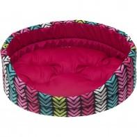 COMFY Лежанка LEA 4 (60х51х17 см) «елочкой» розовая, съемная подушка