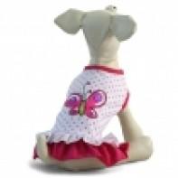 """TR102L Платье """"Бабочка"""", белое в розовый горошек, размер 35см"""
